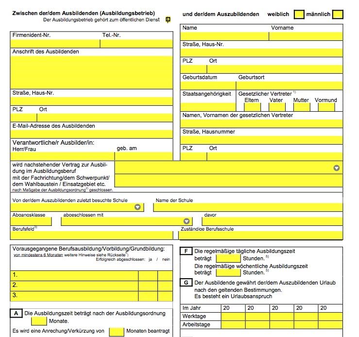 Berufsausbildungsvertrag Dehoga Gastgewerbe Nrw