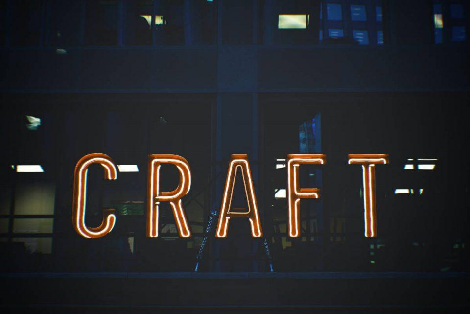 Leuchtschrift Craft